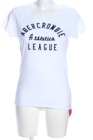 Abercrombie & Fitch T-Shirt weiß-schwarz Schriftzug gedruckt Casual-Look