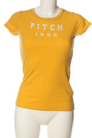 Abercrombie & Fitch T-Shirt hellorange-weiß Schriftzug gestickt Casual-Look