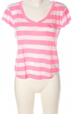 Abercrombie & Fitch T-Shirt pink-weiß Streifenmuster Casual-Look