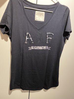 Abercrombie & Fitch T-shirt bleu foncé-argenté