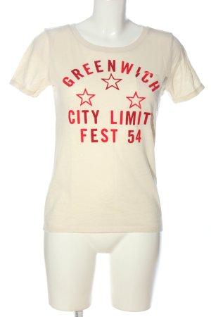 Abercrombie & Fitch T-Shirt wollweiß-rot Schriftzug gedruckt Casual-Look