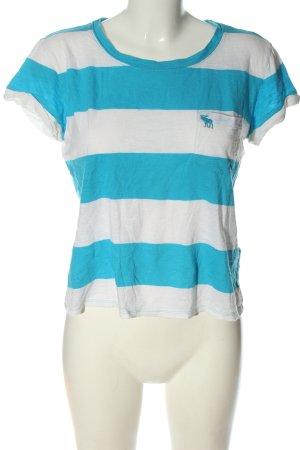 Abercrombie & Fitch T-shirt blanc-bleu motif rayé style décontracté
