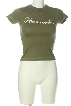 Abercrombie & Fitch Camiseta caqui-blanco letras impresas look casual