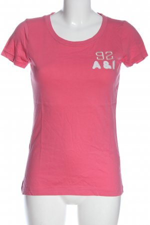 Abercrombie & Fitch T-shirt rosa-bianco caratteri stampati stile casual