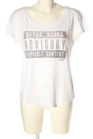 Abercrombie & Fitch T-Shirt weiß-hellgrau Schriftzug gedruckt Casual-Look