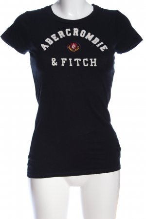 Abercrombie & Fitch T-Shirt schwarz-weiß Schriftzug gedruckt Casual-Look