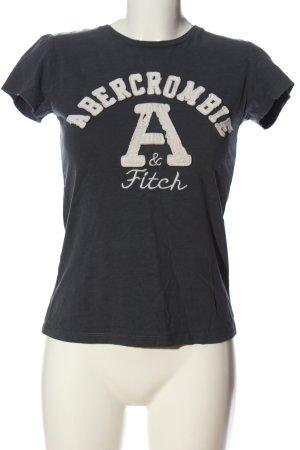Abercrombie & Fitch T-Shirt blau-weiß Schriftzug gedruckt Casual-Look