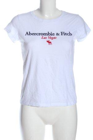 Abercrombie & Fitch T-shirt biały Wydrukowane logo W stylu casual