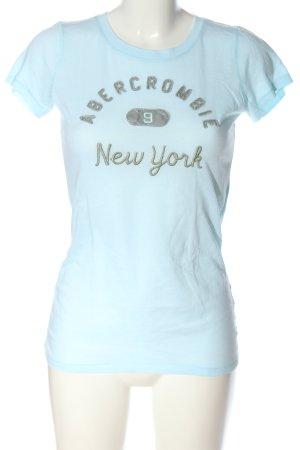 Abercrombie & Fitch T-Shirt blau-khaki Schriftzug gestickt Casual-Look