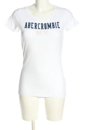 Abercrombie & Fitch T-Shirt weiß-blau Schriftzug gedruckt Casual-Look