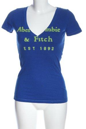 Abercrombie & Fitch T-Shirt blau-grün Schriftzug gedruckt Casual-Look