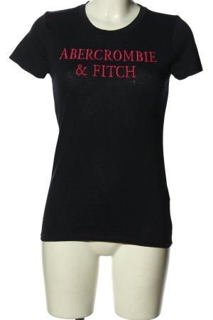Abercrombie & Fitch T-Shirt schwarz-pink Schriftzug gestickt Casual-Look