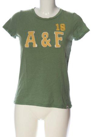 Abercrombie & Fitch T-Shirt khaki-hellorange Schriftzug gestickt Casual-Look