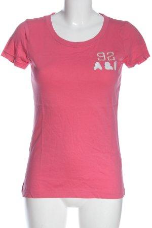 Abercrombie & Fitch T-shirt rosa-bianco caratteri stampati stile casual