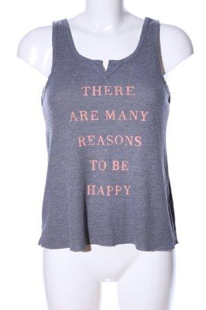 Abercrombie & Fitch Camiseta sin mangas gris claro-rosa letras impresas