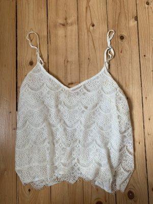 Abercrombie & Fitch Top di merletto bianco sporco-bianco