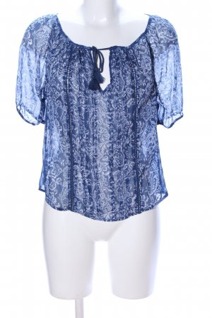 Abercrombie & Fitch Transparante blouse blauw-wit volledige print