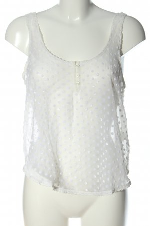 Abercrombie & Fitch Transparenz-Bluse weiß-creme Punktemuster Casual-Look
