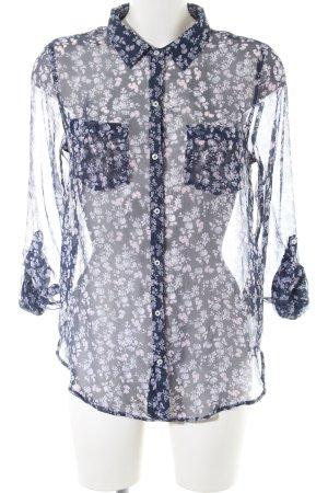 Abercrombie & Fitch Transparenz-Bluse blau-lila Blumenmuster Casual-Look