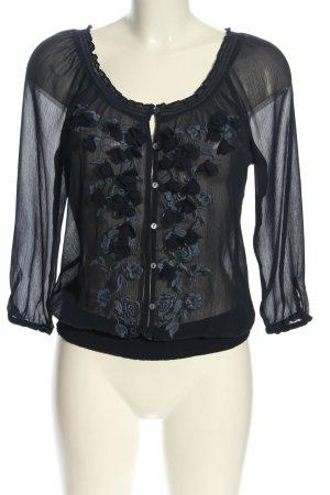 Abercrombie & Fitch Transparenz-Bluse schwarz-hellgrau Elegant