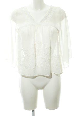 Abercrombie & Fitch Transparenz-Bluse hellbeige Stickereiverzierung