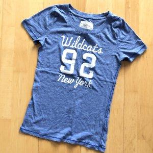 Abercrombie & Fitch TShirt Gr S blau Shirt kurzarm Wildcats new York Weiß