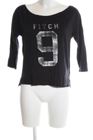Abercrombie & Fitch U-Boot-Shirt schwarz Schriftzug gedruckt Casual-Look
