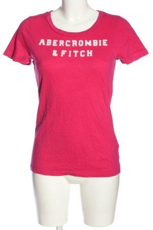 Abercrombie & Fitch U-Boot-Shirt pink Schriftzug gestickt Casual-Look