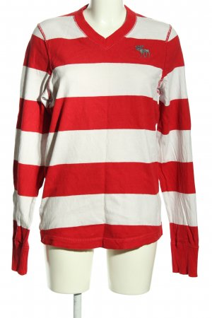 Abercrombie & Fitch V-Ausschnitt-Pullover rot-weiß Streifenmuster Casual-Look