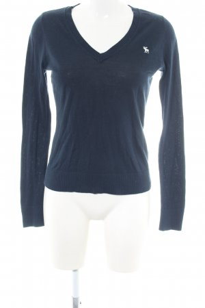 Abercrombie & Fitch V-Ausschnitt-Pullover blau Business-Look