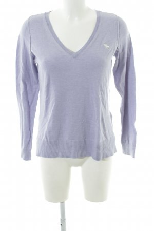 Abercrombie & Fitch V-Ausschnitt-Pullover lila meliert Casual-Look