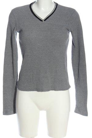 Abercrombie & Fitch Maglione con scollo a V grigio chiaro stile casual