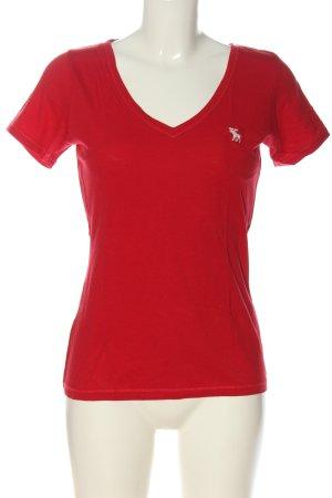 Abercrombie & Fitch V-Ausschnitt-Shirt rot Casual-Look