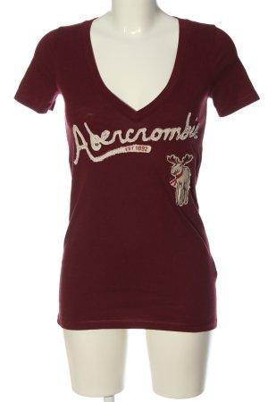 Abercrombie & Fitch Maglia con scollo a V rosso-crema Stampa a tema stile casual