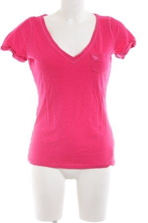 Abercrombie & Fitch V-Ausschnitt-Shirt pink Casual-Look