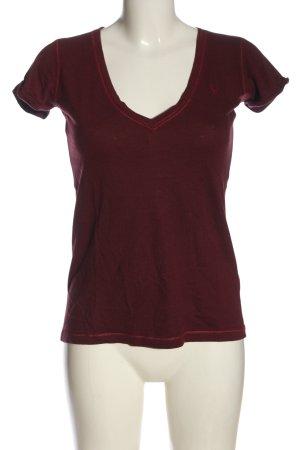 Abercrombie & Fitch T-shirt col en V rouge style décontracté