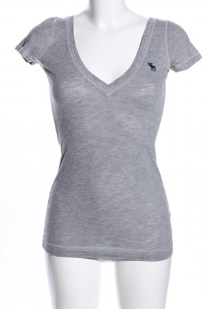 Abercrombie & Fitch V-hals shirt lichtgrijs gestippeld casual uitstraling