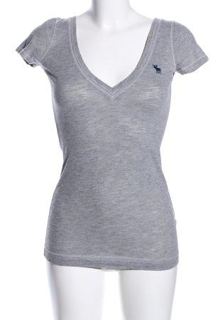 Abercrombie & Fitch V-Ausschnitt-Shirt hellgrau meliert Casual-Look