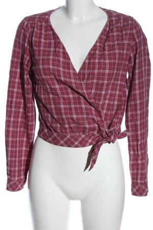 Abercrombie & Fitch Blusa cruzada rosa-blanco estampado a cuadros look casual