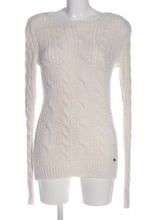 Abercrombie & Fitch Warkoczowy sweter w kolorze białej wełny Warkoczowy wzór
