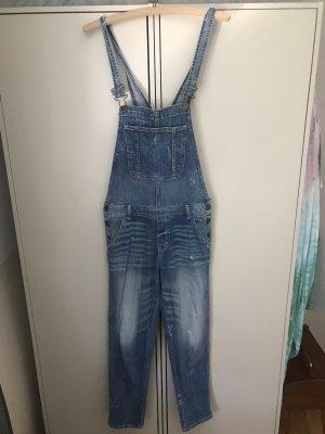 Abercrombie & Fitch Jeansowe ogrodniczki stalowy niebieski