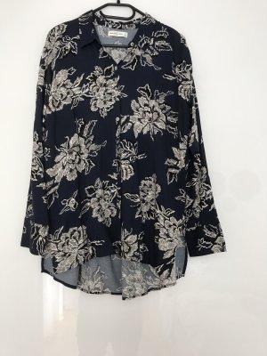 Abercrombie & Fitch Blusa larga azul oscuro-blanco puro