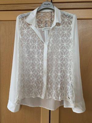 Abercrombie - weiße, gehäkelte, transparente Bluse