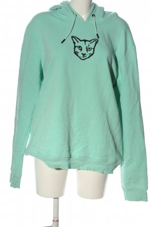 About You Hooded Sweatshirt turquoise-black themed print casual look