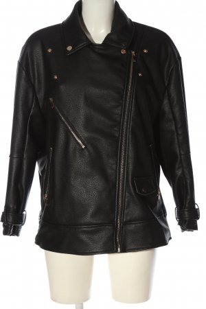About You Faux Leather Jacket black printed lettering casual look
