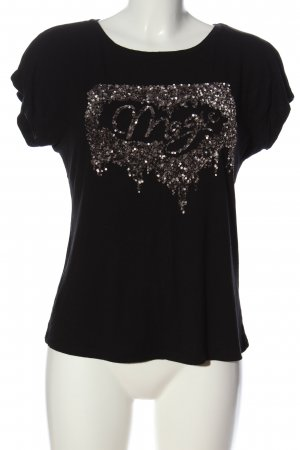 About You Camiseta negro-color plata look casual