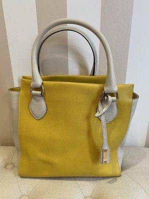 abro Crossbody bag white-yellow leather