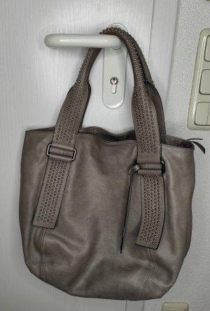 Abro Handtasche beige taupe Leder Henkel mit Nieten
