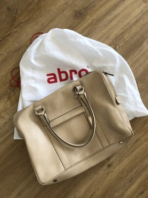 Abro Shopper Business Bag Laptoptasche beige Leder
