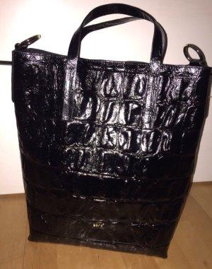 Abro Tasche Shopper Paperbag schwarz Leder  krokolook neu mit Rechnung